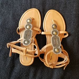 Lane Bryant Beaded Tan Strap Sandals New